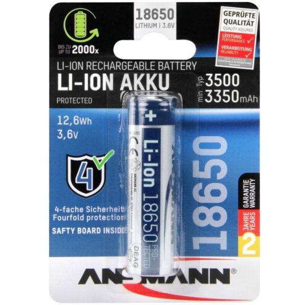 Ansmann Li-Ion batterij 18650 3500 mA oplaadbare batterij