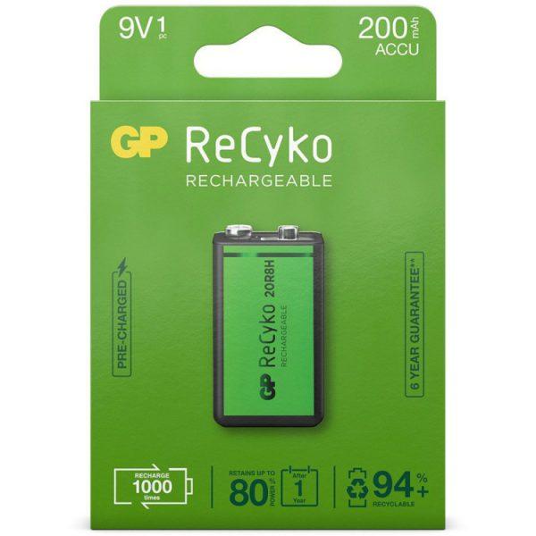 GP Batteries 9V batterij Oplaadbaar NiMH 200 mAh ReCyko 8,4V 1 stuk oplaadbare batterij