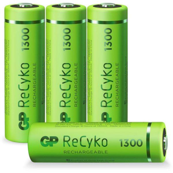 GP Batteries AA batterij Oplaadbaar GP NiMH 1300 mAh ReCyko 1,2V, 4 stuks oplaadbare batterij