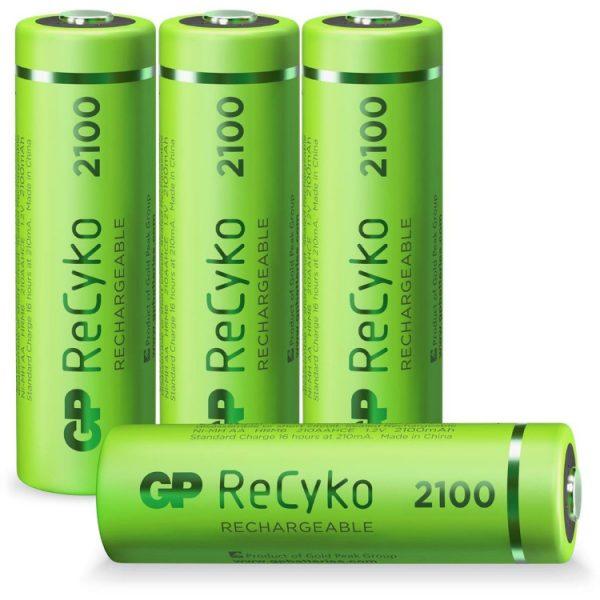 GP Batteries AA batterij Oplaadbaar GP NiMH 2100 mAh ReCyko 1,2V, 4 stuks oplaadbare batterij
