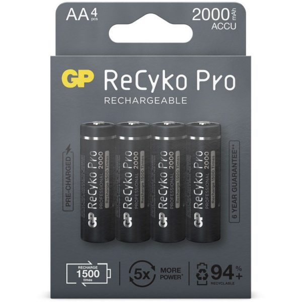 GP Batteries AA batterij Oplaadbaar NiMH 2000 mAh ReCyko Pro 1,2V 4 stuks oplaadbare batterij