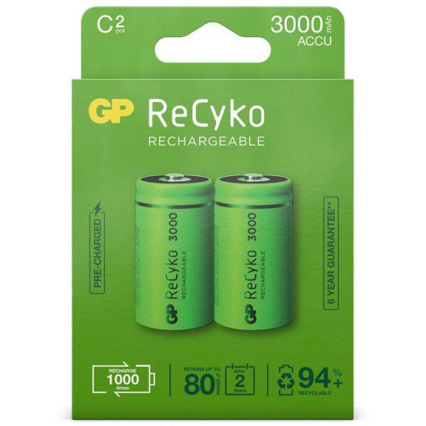 GP Batteries C Baby batterij Oplaadbaar NiMH 3000 mAh ReCyko 1,2V 2 stuks oplaadbare batterij